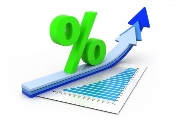 Percentage symbol and arrow graphs